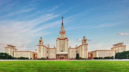 Time lapse of Moscow state university, Russia Стоковые видеозаписи