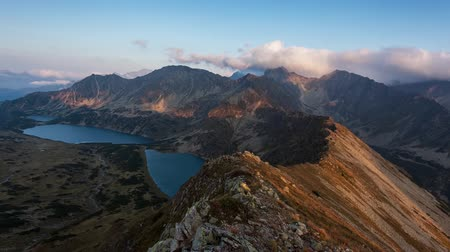 Dramatic sunset in the mountains Landscape, Slovakia Tatras Time lapse video.