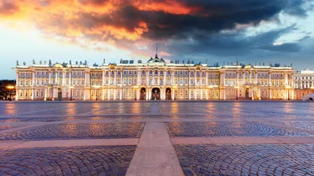 winter palace : Russia - St. Petersburg, Winter Palace - Hermitage, Time lapse at sunrise
