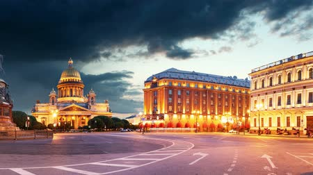 Time lapse of Saint Petersburg night city skyline with Isaac Cathedral, Russia