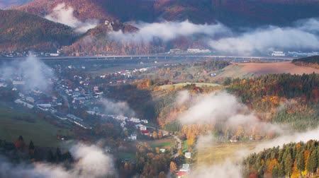 Autumn landscape, Hills and villages with foggy morning, Slovakia, Time lapse