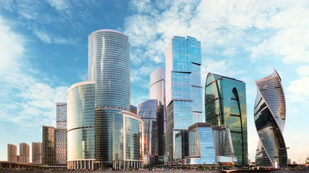 Time lapse of Moscow International Business Center, Russia Стоковые видеозаписи