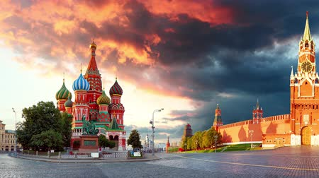 Time lapse of Russia - Moscow in red square with Kremlin and St. Basils Cathedral