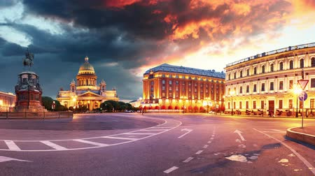 Saint Petersburg city skyline at Saint Isaac Cathedral, Russia - Time lapse