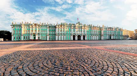 st petersburg : Winter Palace - Hermitage in Saint Petersburg, Russia, Time lapse Stock Footage