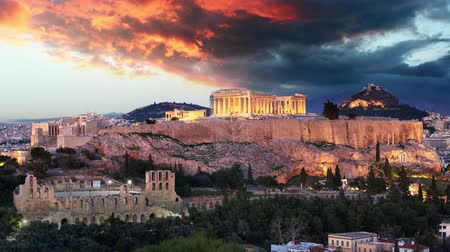 Athens Time lapse - Acropolis at sunset, Greece