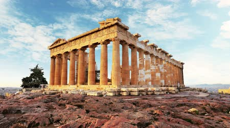 yunan : Parthenon on Acropolis, Athens, Greece - Time lapse