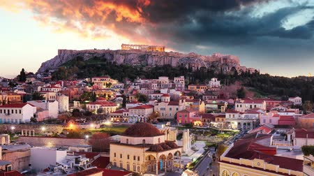 czas : Greece - Time lapse at sunset, Athens