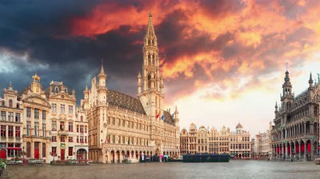 основной : Brussels grand square at sunset, Time lapse