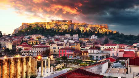 Athens - Acropolis during sunrise, Greece Time lapse