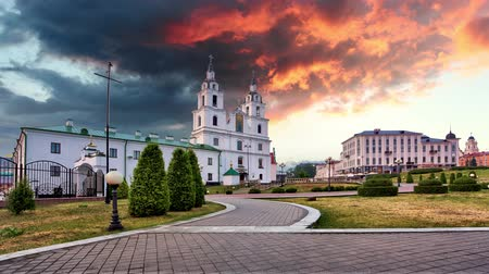 Minsk, Belarus. The Cathedral Of Holy Spirit In Minsk - Time lapse at sunset Стоковые видеозаписи