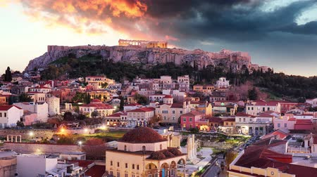 aerial athens : Athens - Acropolis at night, Greece Time lapse