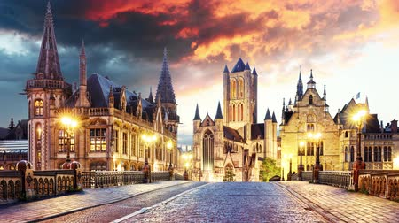 belga : Ghent in Belgium at sunset to night, Time lapse Vídeos
