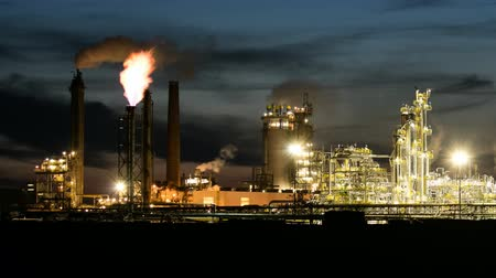 Petrochemical oil industry on night, Factory - Time lapse