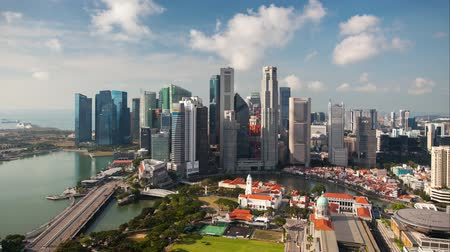 Time lapse of Singapore at day - Marina bay Стоковые видеозаписи