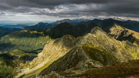 Slovakia mountain landscape at dramatic sunset, Panorama of Rohace Tatras, Time lapse