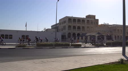 DOHA, QATAR - 14 FEBRUARY 2018: Bicycle Ride Parade at Sports Day at Souq Waqif District, Old City, Doha, Qatar.