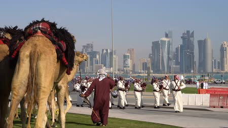 DOHA, QATAR - 14 FEBRUARY 2018: Orchestra Parade in Honor of the Qatarian Emir at Souq Waqif District, Old City, Qatar.
