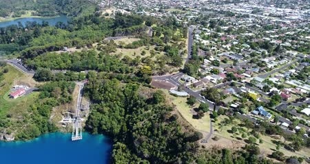 cobalt : Drone Footage of Blue Lake, Mount Gambier, South Australia Stock Footage