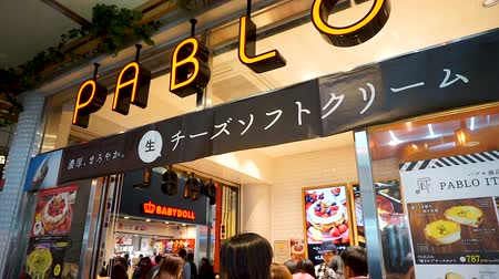 franczyza : OSAKA, JAPAN - APRIL 30 : Japanese and tourists on the queue at PABLO at night ,  famous baked cheese cake and cheese tart store in Japan on April 30, 2017 in Osaka, Japan Wideo