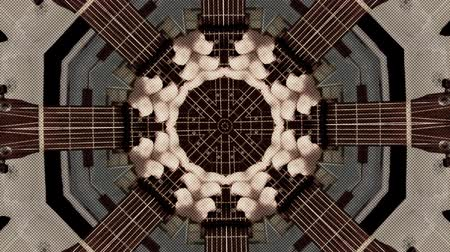 surrealizm : Abstract dot motion background of psychedelic kaleidoscopic acoustic guitar