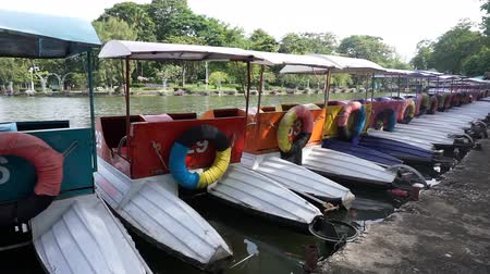 Colorful pedal boats parked in a long line at pier in park.