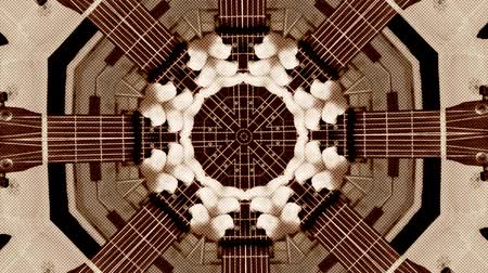 Abstract dot motion background of psychedelic kaleidoscopic acoustic guitar
