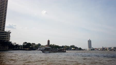 Time Lapse of Chao Praya river with the boat transportation, Bangkok, Thailand