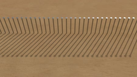 hammered : row of hammered nails in the wood and Their rotating shadow, 3d rendering