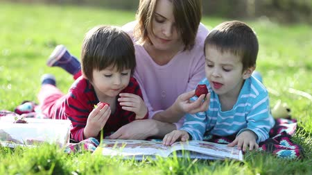 outside : Two adorable kids and their mom, reading book and eating strawberries at the park on a sunny spring afternoon