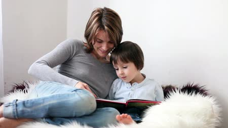стулья : Young mom and adorable little boy, reading a book at home, educating