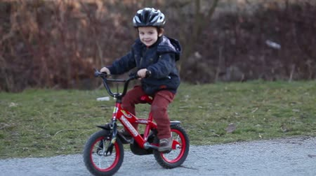 excitação : Boy riding a bicycle in a  park,  concept for healthy lifestyle, exercising and road safety Vídeos