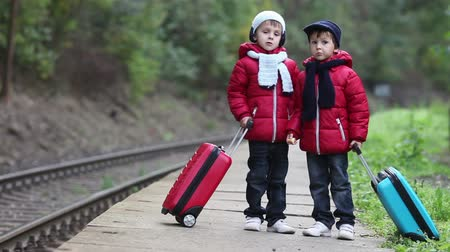 fantazja : Two cute boys on railway with suitcases, running after a train, autumn time