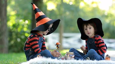 kostüm : Two boys in the park with Halloween costumes, having fun Stok Video