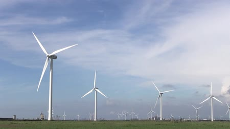vento : Row of  wind turbines generating clean  energy in the countryside
