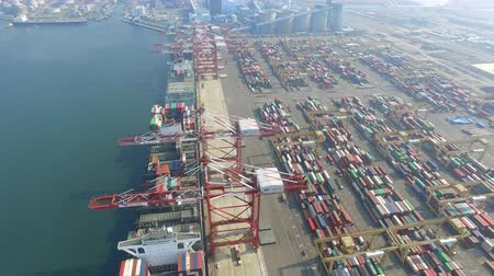 truck crane : aerial view of  Stacks containers  Terminal  in Kaohsiung. Taiwan. Stock Footage