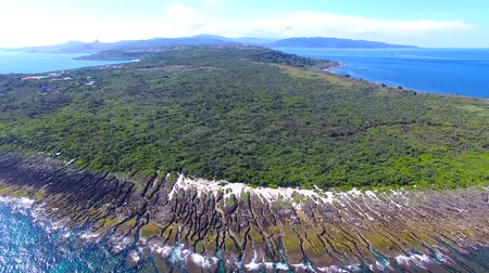 люди : Aerial view of kenting national park coastline. Taiwan. Стоковые видеозаписи
