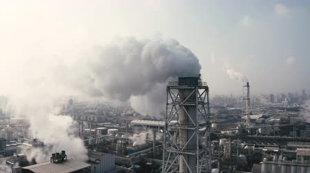 Aerial view of industrial area with chemical plant. Smoking chimney from factory Dostupné videozáznamy