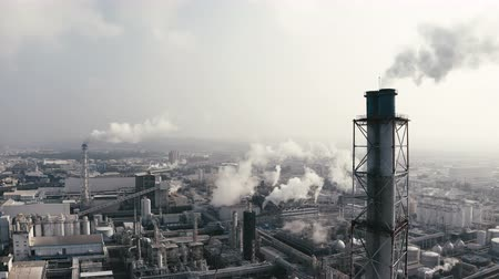 Aerial view of industrial area with chemical plant. Smoking chimney from factory Stok Video