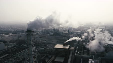 fabryka : Aerial view of industrial area with chemical plant. Smoking chimney from factory Wideo