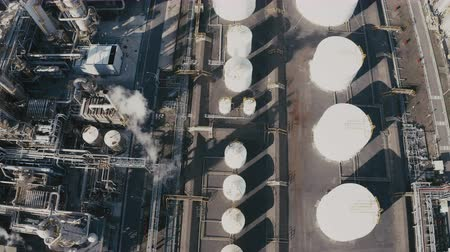 grey : Aerial view of industrial area with chemical plant. Smoking chimney from factory Wideo