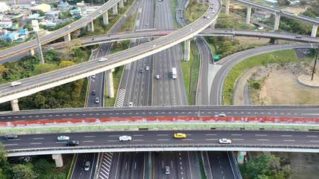 sistemas : Aerial view of Highway transportation system highway interchange at kaohsiung. Taiwan. Time lapse