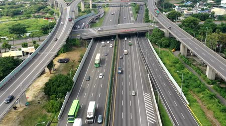 nákladní auto : Aerial view of Highway transportation system highway interchange at kaohsiung. Taiwan. Time lapse