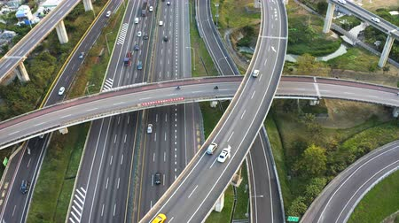 Aerial view of Highway transportation system highway interchange at kaohsiung. Taiwan. Time lapse