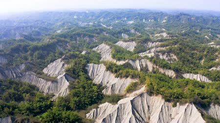 seyahat : Aerial view of Tianliao Moon World. Volcano mud and limestone area. Kaohsiung. Taiwan