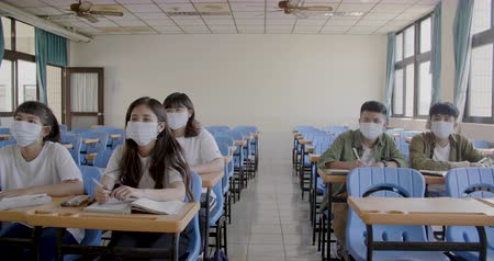baktériumok : Students wearing protection mask to prevent germ, virus and PM 2.5 micron in classroom