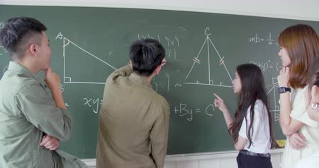 adolescente : Group of student working on the mathematical problem