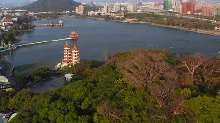 cienie : Aerial view lotus pond and traditional Chinese Pagoda at sunset, Kaohsiung, Taiwan. Asia. Wideo