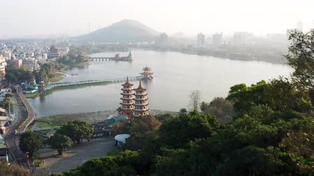 cienie : Aerial view lotus pond and traditional Chinese Pagoda at sunrise, Kaohsiung, Taiwan. Asia.