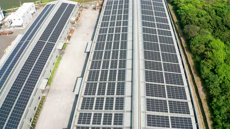 fabryka : aerial view of Solar panels on rooftop